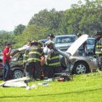 Four-vehicle wreck on U.S. 421